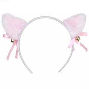 Catgirl headband ears white bells ribbon pink